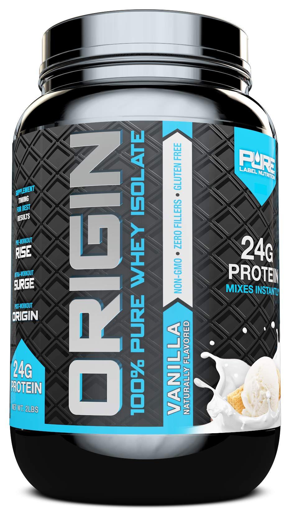 Whey Protein Isolate, Cold Processed Undenatured, Keto Friendly Whey Protein Powder, Non GMO, Gluten Free, Lactose Free, Sugar Free, 2 pounds (Vanilla) by Pure Label Nutrition