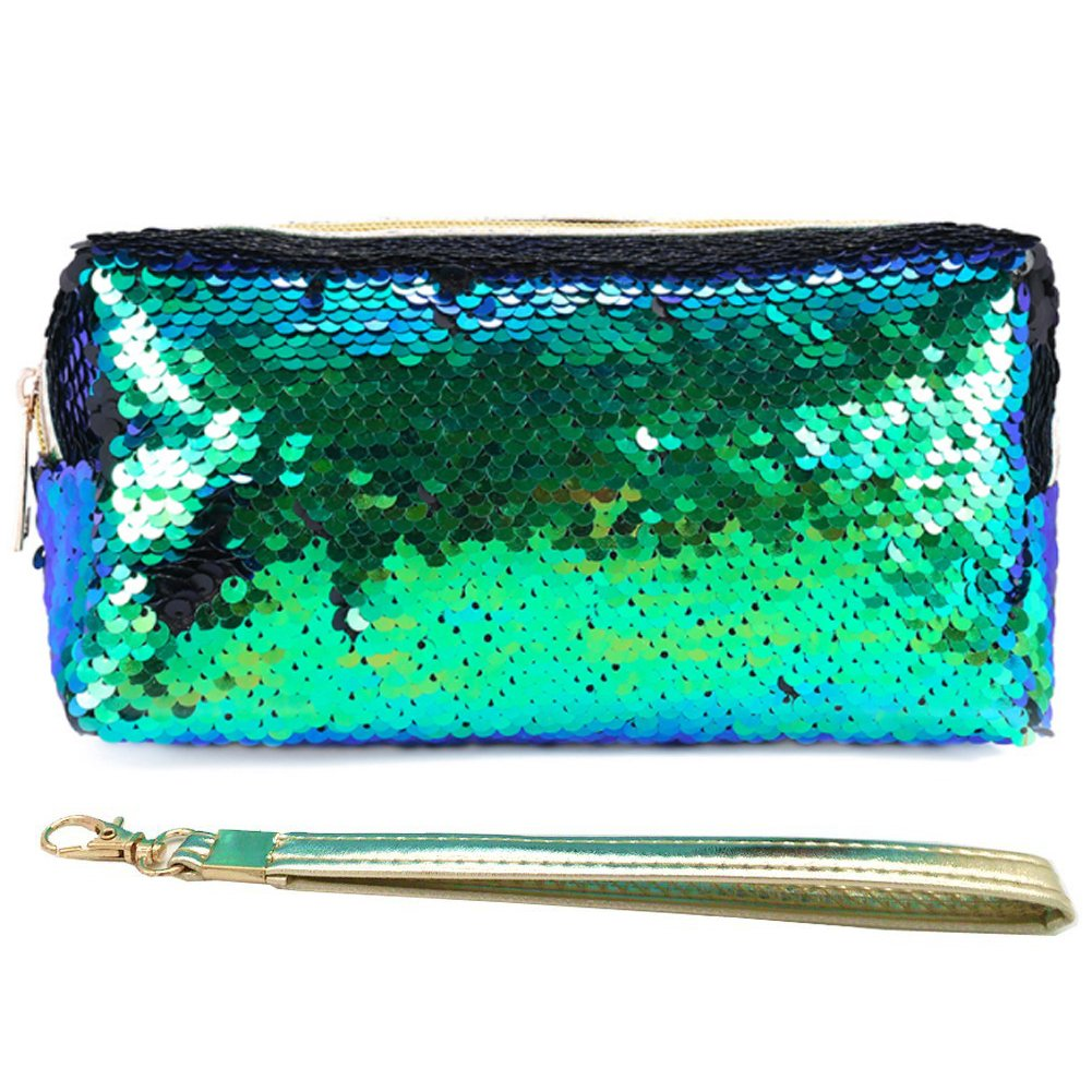 Uniuooi Glitter Cosmetic Bag Mermaid Spiral Reversible Sequins Portable Double Color Students Pencil Case for Girls Women Purse Make Up Pouch with Detachable Handle Strap Zip Closure (Green)