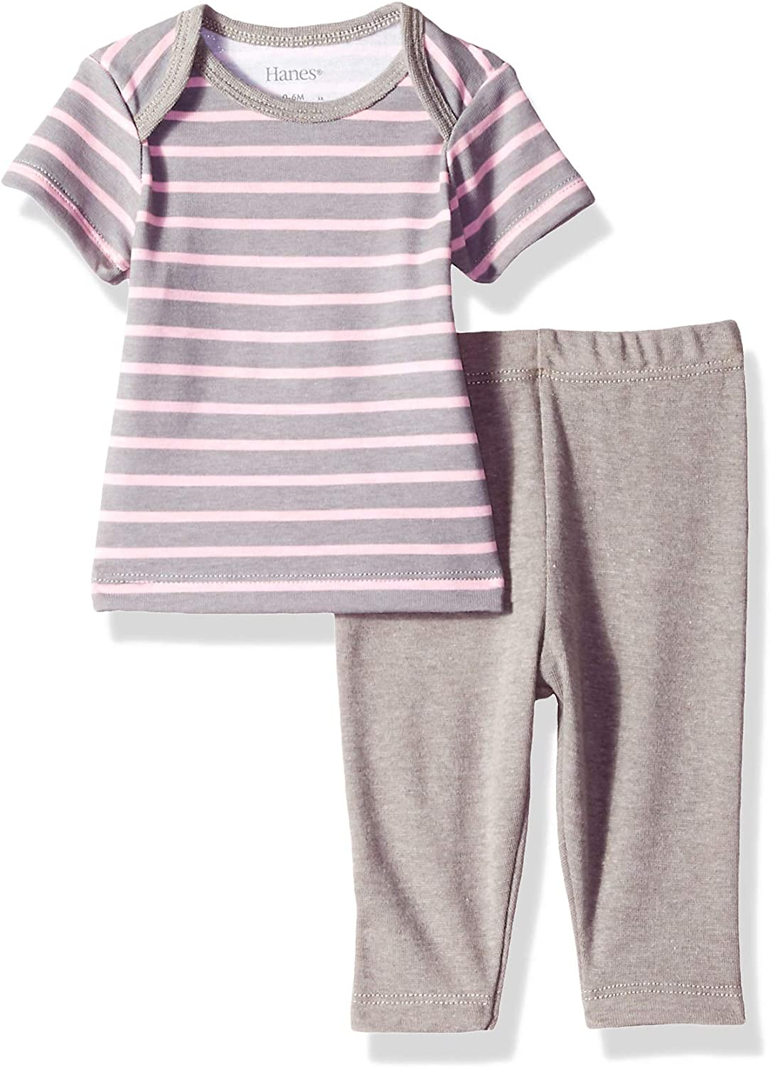Hanes Ultimate Baby Flexy 2 Piece Set Pant with Short Sleeve Crew Tee