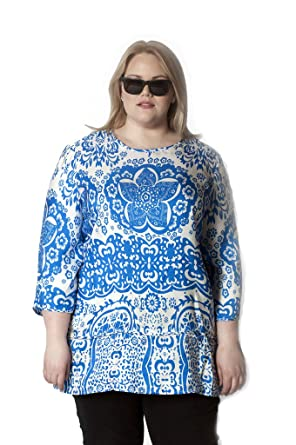 4f2551e3048f9 Twelve North Persaman Women s Plus Size Printed Silk Tunic 1X Blue and White