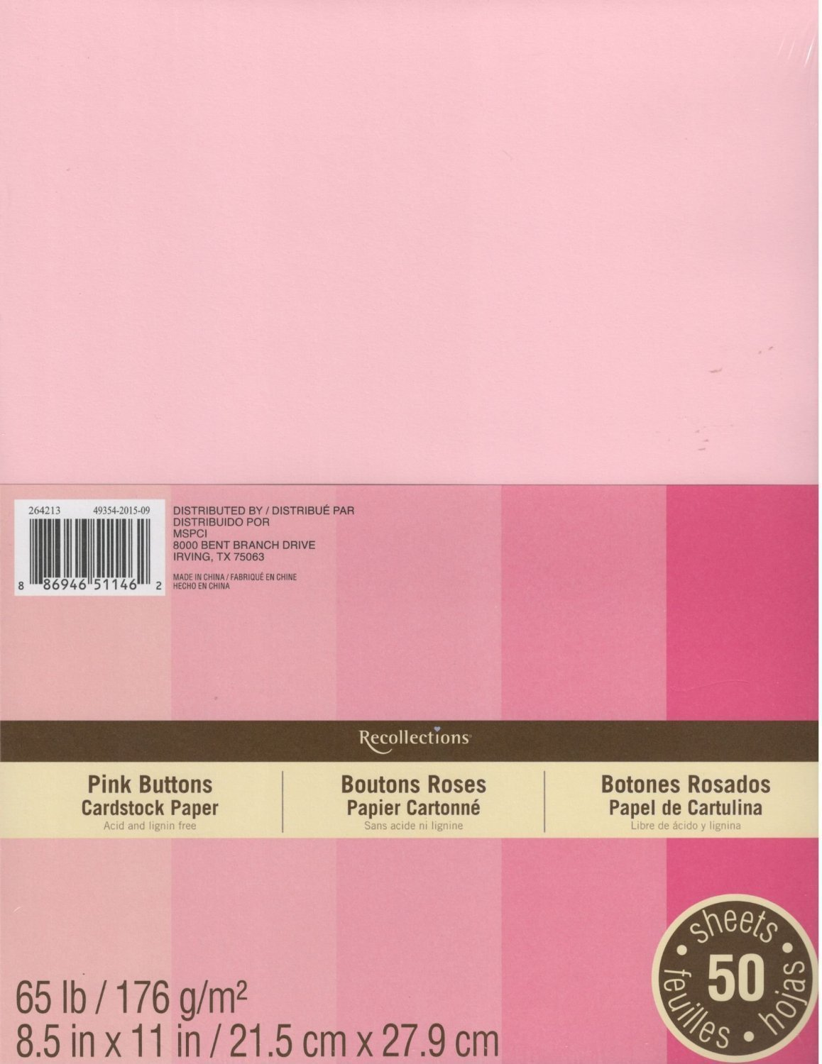 Recollections Cardstock Paper, 8 1/2 X 11 Pink Buttons - 50 Sheets 06103000947