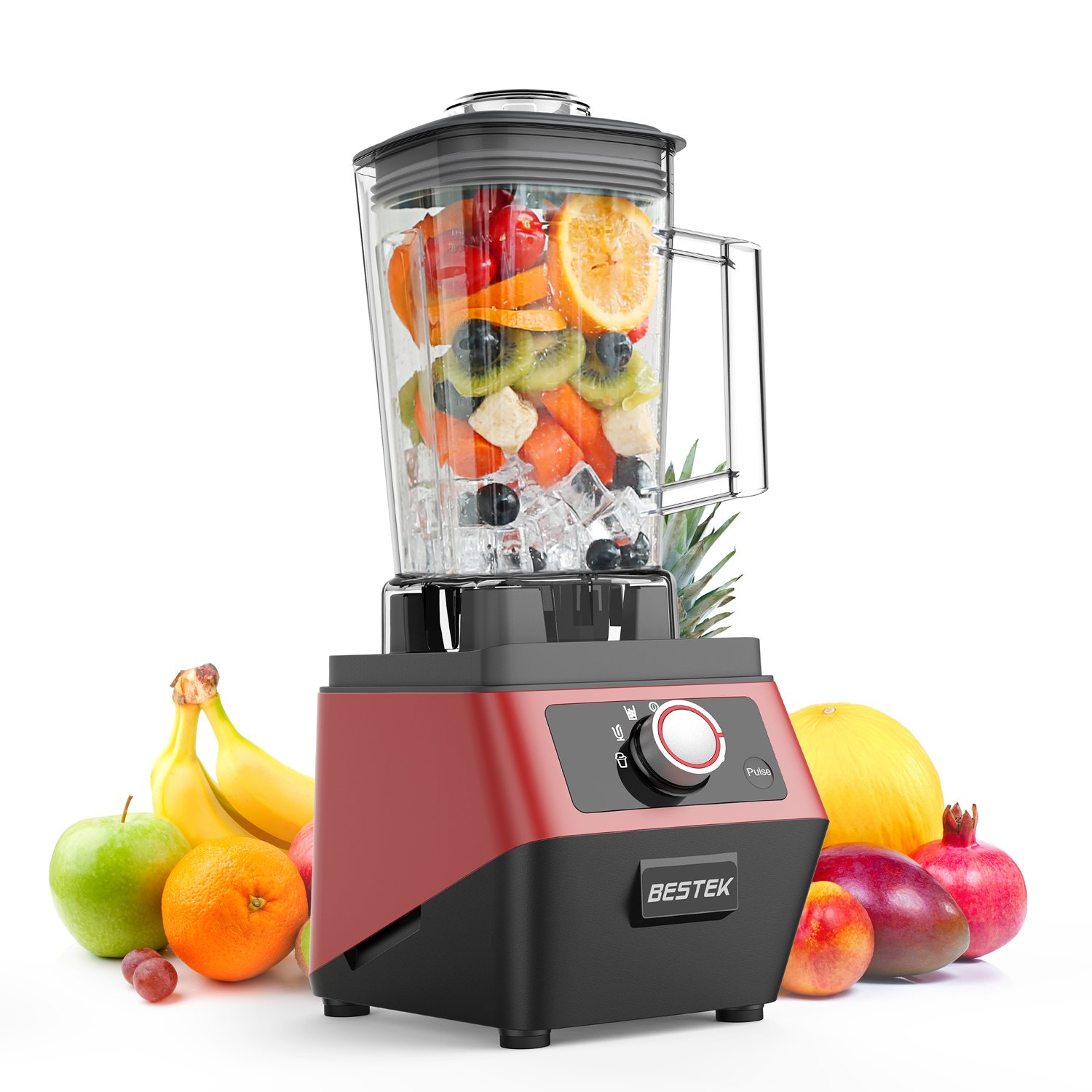 BESTEK 1400W Smoothie Blender,3 Pre-Programmed Settings for Smoothie,Dessert,Ice Crushing,Professional Commercial Blender with 2L BPA-Free Tritan Jar,3-Speed Control and Pulse Function-UL Certified
