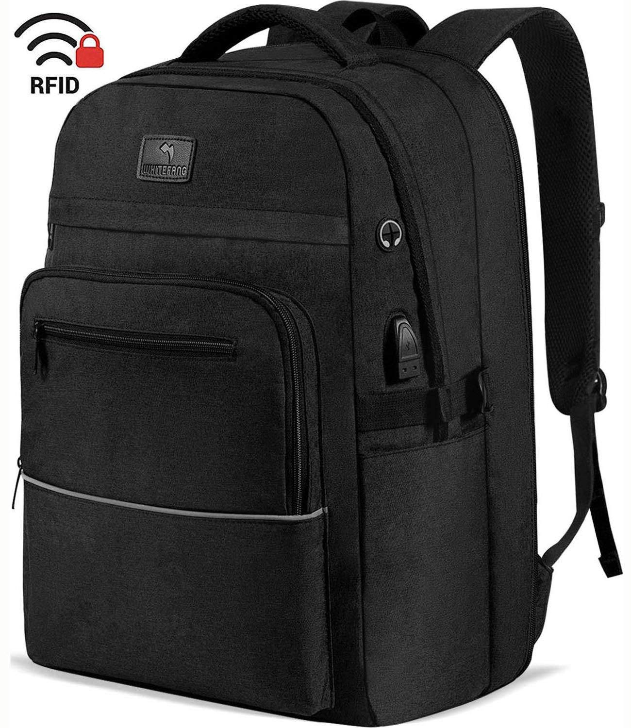WhiteFang 17.3 Inch Laptop Backpack,TSA Friendly Business Travel Laptop Backpack with USB Charging Port, RFID Pockets Water Resistant Big School Backpack for Women & Men Fits 17.3 Inch Laptop-Black by WhiteFang