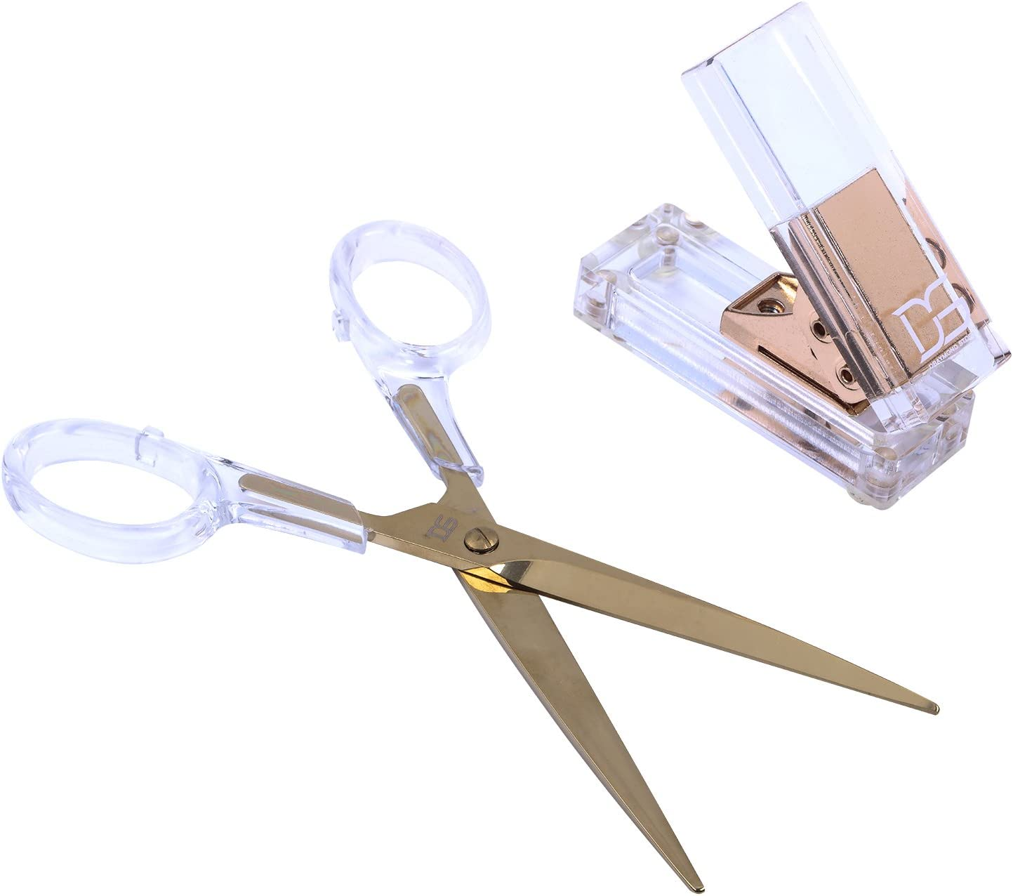 Acrylic Gold Single Hole Punch and Scissors by Draymond Story - Clear Desk Accessories Set