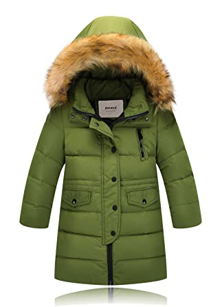 79c294c30 ZOEREA Kids Winter Coats Boys Girls Down Jacket with Hood Childrens Parka  Windproof Long Warm Thicken Outerwear Clothes (Army Green, ...