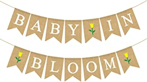 Rainlemon Jute Burlap Baby in Bloom Banner with Flower Spring Theme Boy Girl Baby Shower Garland Decoration