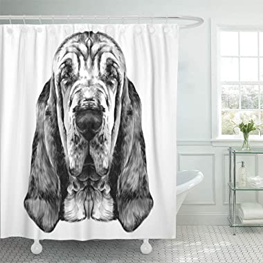 Emvency Shower Curtain Set Waterproof Adjustable Polyester Fabric Animal The Head of Dog Breed Bloodhound Graphics Sketch Black and White Cute 72 x 72 Inches Set with Hooks for Bathroom