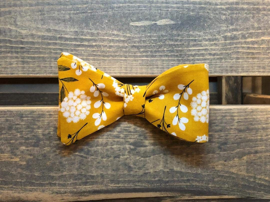 Mustard Yellow Floral Self Tie Bow Tie