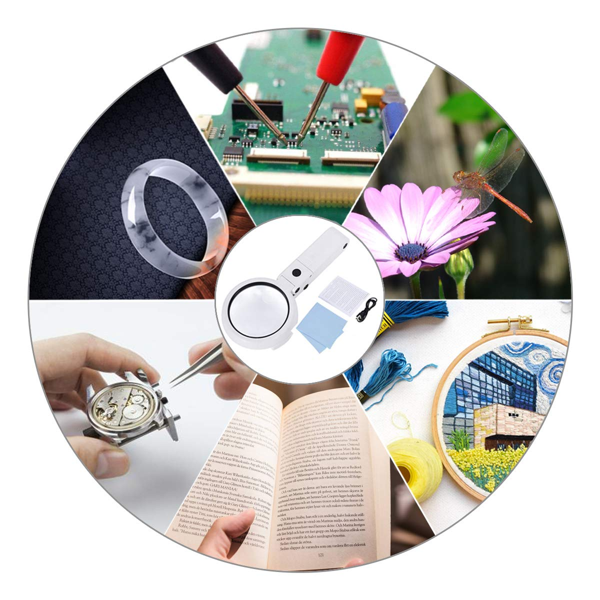 Large Magnifying Glass Lamp with Led Light and Stand Magnifier Loupe Visor 2.5X 5X Hands-Free for Close Work,Repair,Sewing,Crafts