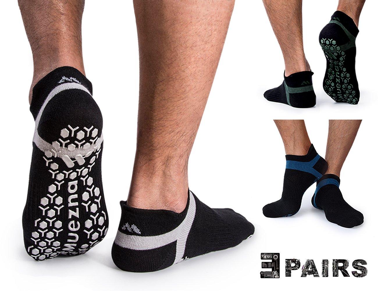 Muezna Herren Anti-Rutsch- Socken, Ideal für solche Sportarten, Yoga, Fitness Pilates Kampfkunst Tanz Gymnastik .Größen von 38 bis 43, atmende Baumwolle, Yoga Socken
