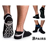 Muezna Non Slip Men's Yoga Socks, Anti-Skid Pilates, Barre, Bikram Fitness Hospital Socks with Grips
