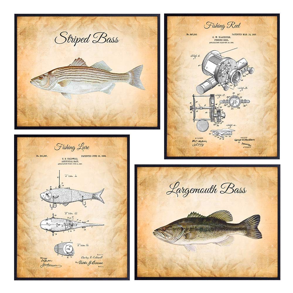 Original Fishing Patent Wall Decor Set - Vintage Shabby Chic 8x10 Fish Art Decoration Posters for River Freshwater Lake Home, Office, Living Room, Bedroom, Man Cave - Gift for Fishermen, Angler