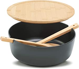 Salad Serving Bowls Set, Bamboo Fiber Salad Bowl with Lid and Servers, Large 10.8inch Bowl with Spoon for Vegetables,Fruits and Decoration (Black)
