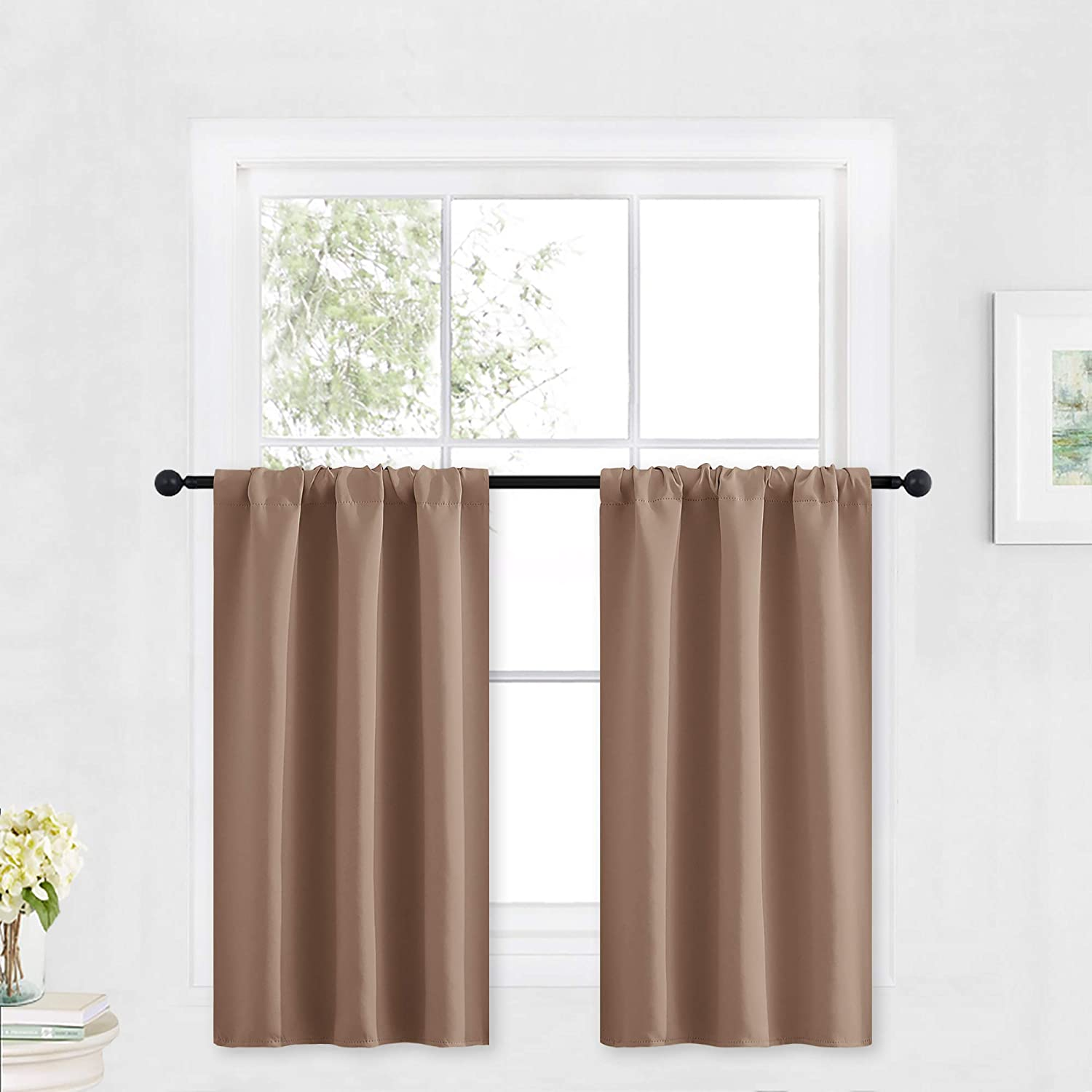 RYB HOME Small Window Curtains - Light Block Privacy Portable Curtains for Bedroom Kitchen Cabinet Kid Basement RV Curtains, Wide 29 x Long 36 per Panel, Mocha, 2 Pcs