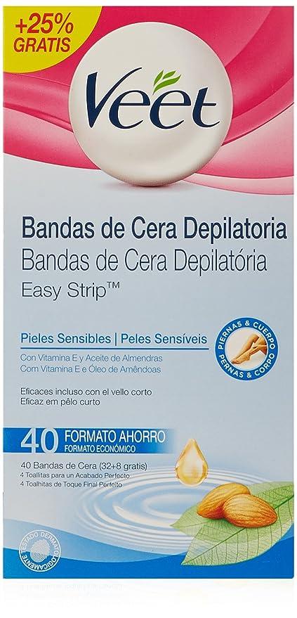 Veet Bandas de cera depilatoria - Paquete de 40 x 25 gr - Total: 1000