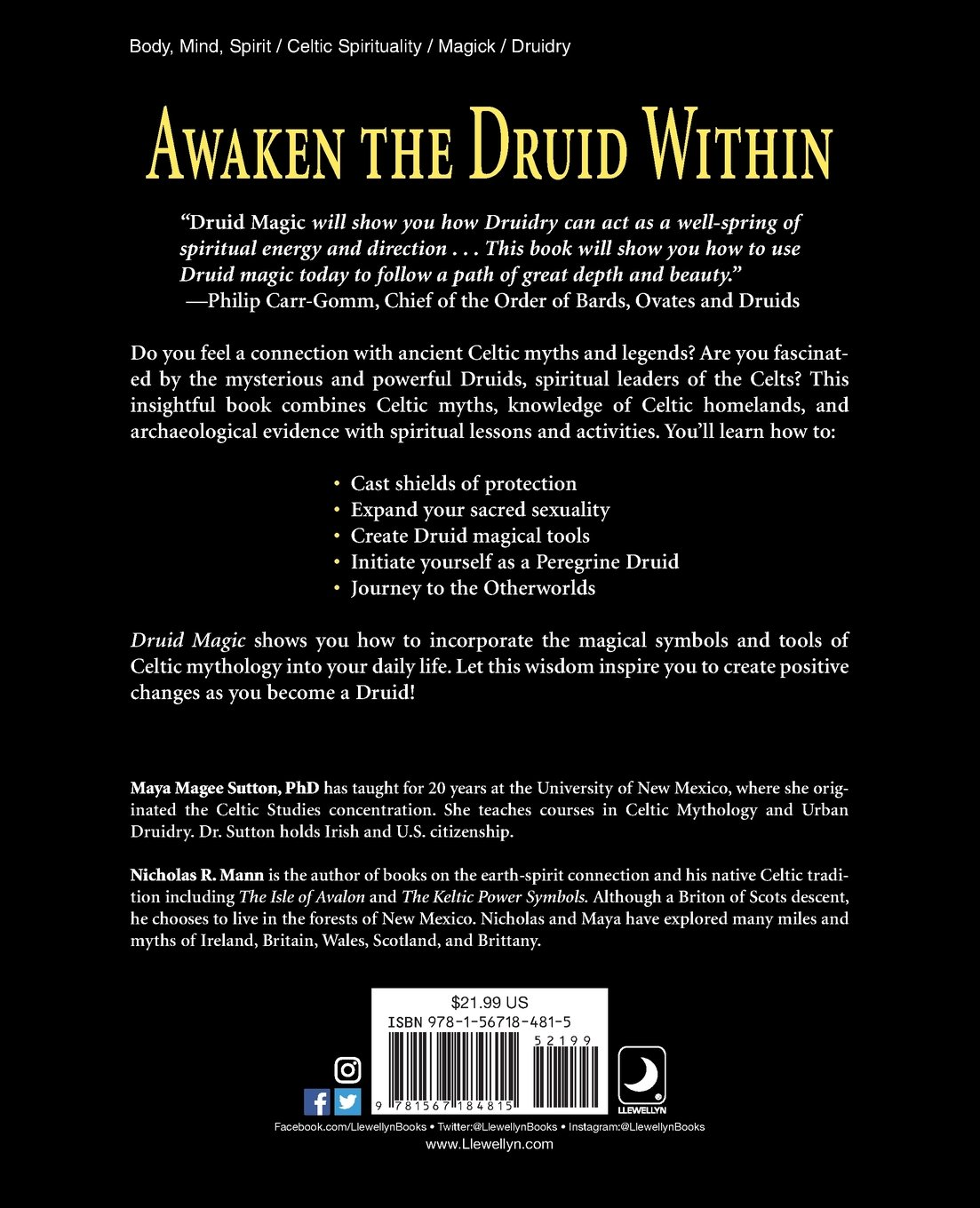 Druid Magic The Practice Of Celtic Wisdom Maya Magee Sutton