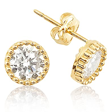 8c7d30268 Image Unavailable. Image not available for. Color: Large CZ Stud Earrings  With Gold Button Outline in 14K ...
