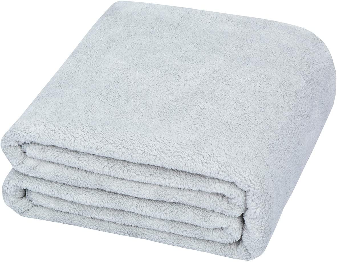 HOPESHINE Microfiber Bath Towels Super Soft for Bathroom Absorbent and Fast Drying Travel Bath Sheet Towel Extra Large Towel for Camping Swimming Gym (31inch X 59inch, Light Grey)