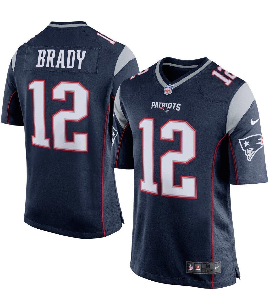 0707247b4 Men s New England Patriots Tom Brady  12 Navy Blue Silver Game Jersey(size  large)  Amazon.co.uk  Sports   Outdoors