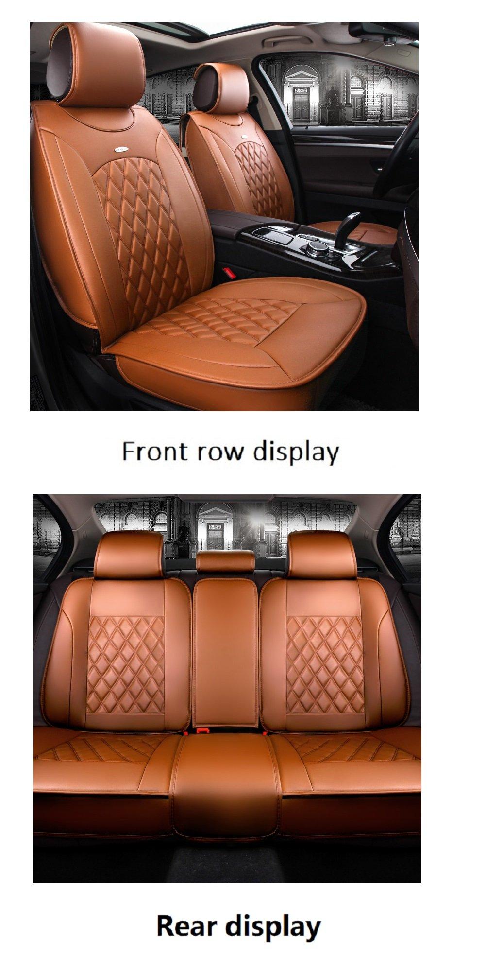 JOJOHON Luxury PU Leather Auto Car Seat Covers 5 Seats Full Set Universal Fit (Orange)