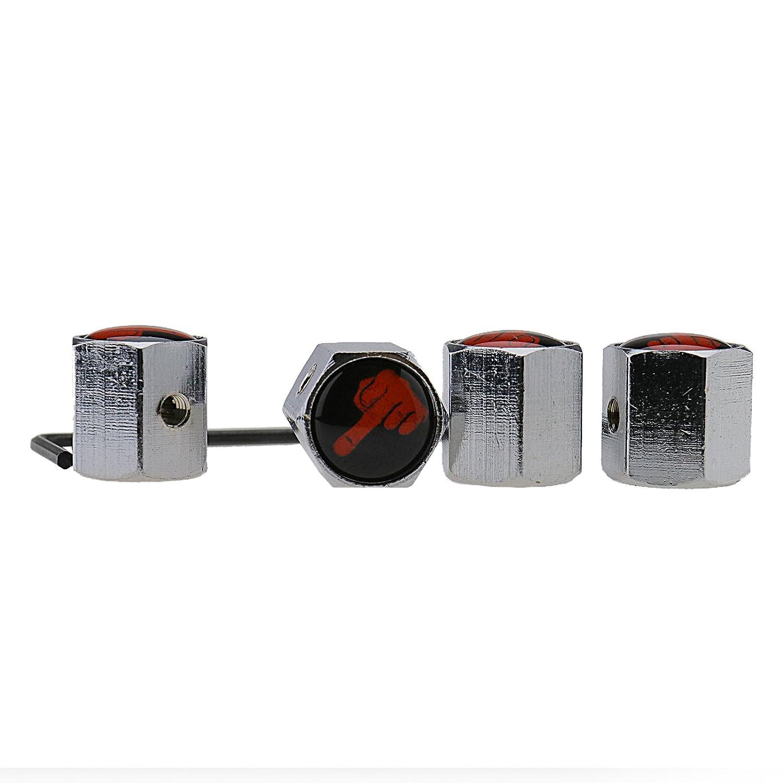 4 x Middle Finger LockableダストキャップスパナUS Airホイールタイヤバルブキャップカバー B077M9BZ9X