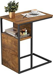 Cubiker Sofa Side End Table, C Shaped Reversible Table with Wooden Shelf, Side Table for Living Room, Bedroom, Metal Frame Nightstand