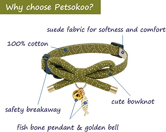 PetSoKoo Bowtie Cat Collar with Bell Bowknot with Cute Cat Charm Safety Breakaway.