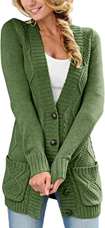 LOSRLY Women Open Front Cabel Knit Cardigan Button Down Long Sleeve Sweater Coat Outwear with Pockets