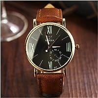 Lanlan análogo de cuarzo reloj de pulsera escala de números romanos Casual de negocios reloj de pulsera de moda para hombre y mujer reloj