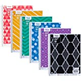 Mead Fashion Notebook, 1 Subject, College Ruled, 90 Sheet, Assorted Colors, 10.5 x 2.2 x 8.2, Pack Of 6,