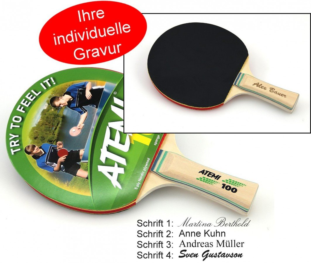 Atemi 100 Tischtennis Schlä ger, Geschenk Idee mit individueller Gravur