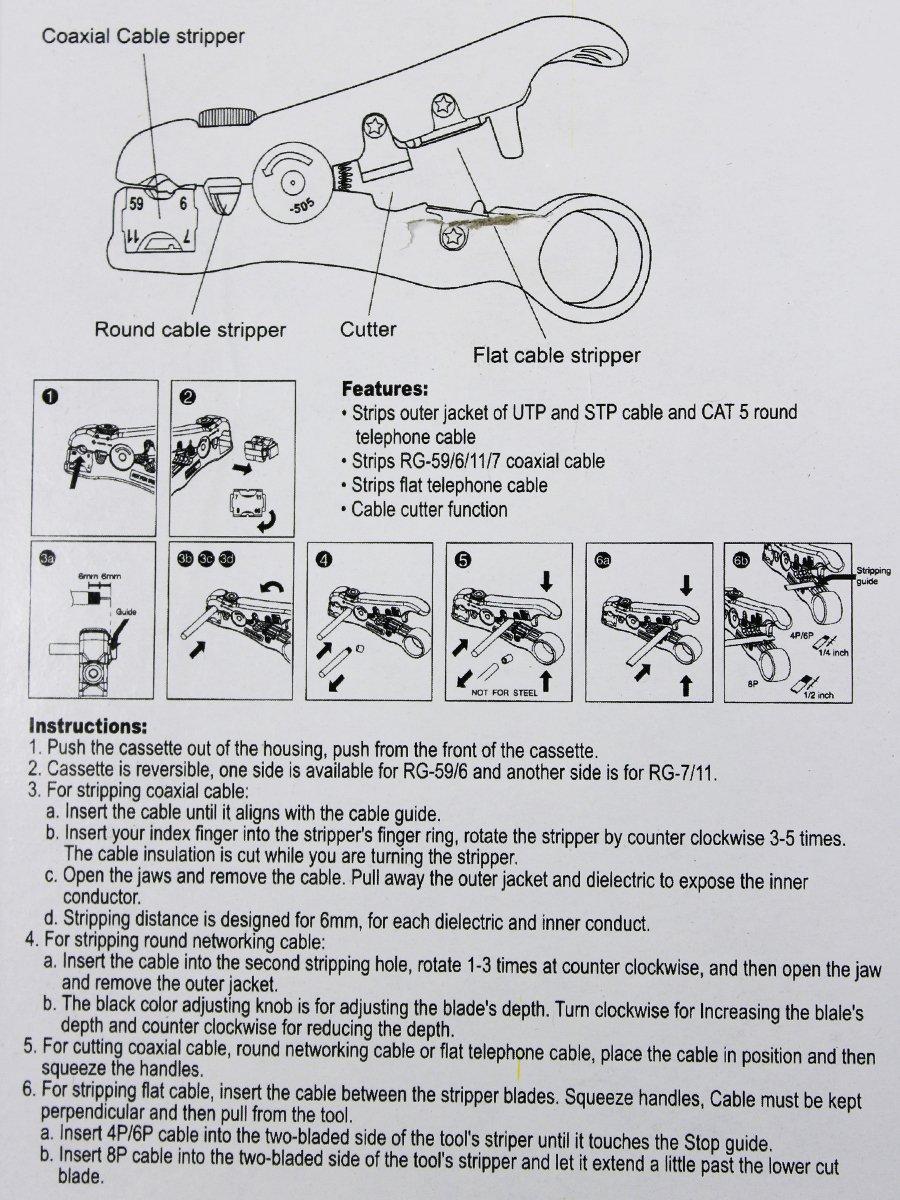 Coaxial Stripping Tool Cable coaxial Stripper para RG59 / 6/7/11 / Función reversible Cassette cortador de cable (amarillo): Amazon.es: Bricolaje y ...