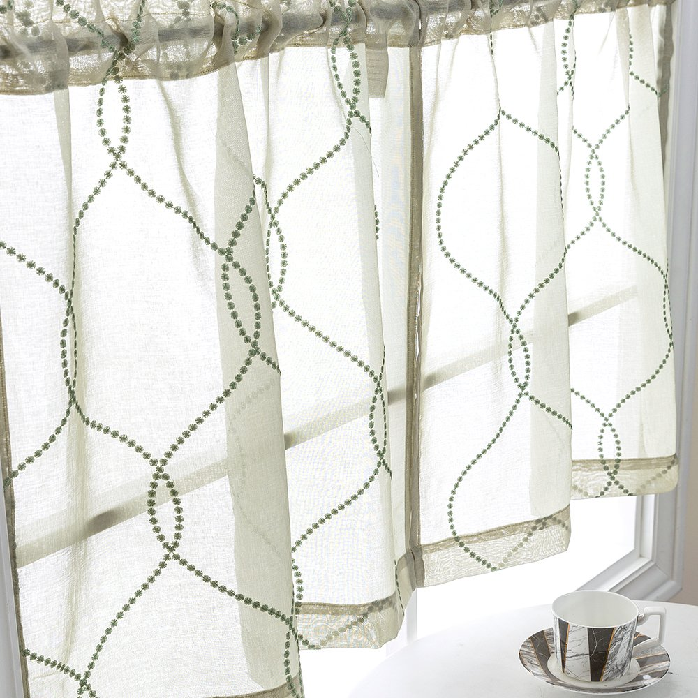 Kitchen Curtain Sets 36 inch Sage 3 Pcs Moroccan Trellis Pattern  Embroidered Semi Sheer Kitchen Tier Curtains and Valance Set for Bathroom