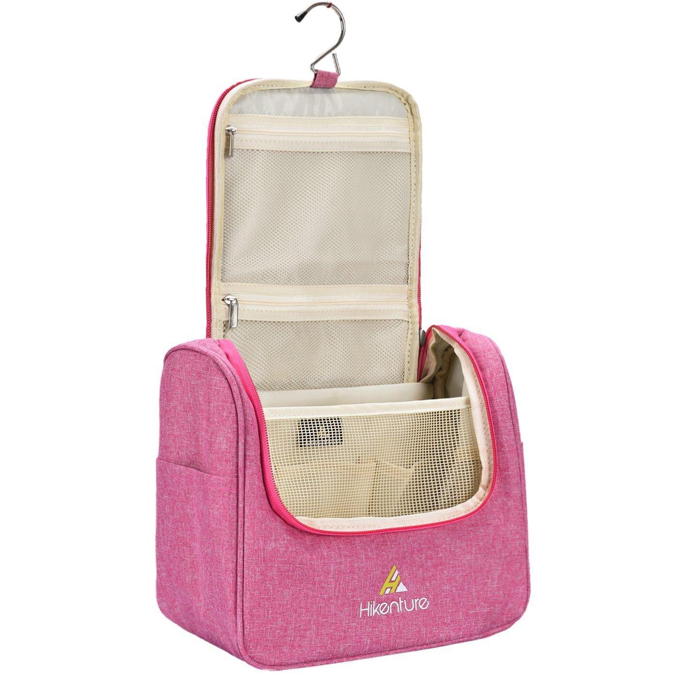 Hikenture Travel Bag Organizer | Toiletry Bag for Men&Women | Portable,Waterproof Dopp Kit | TSA Friendly Hanging Toiletry Bag for Home, Gym, Airplane, Hotel, Car Use (Pink)