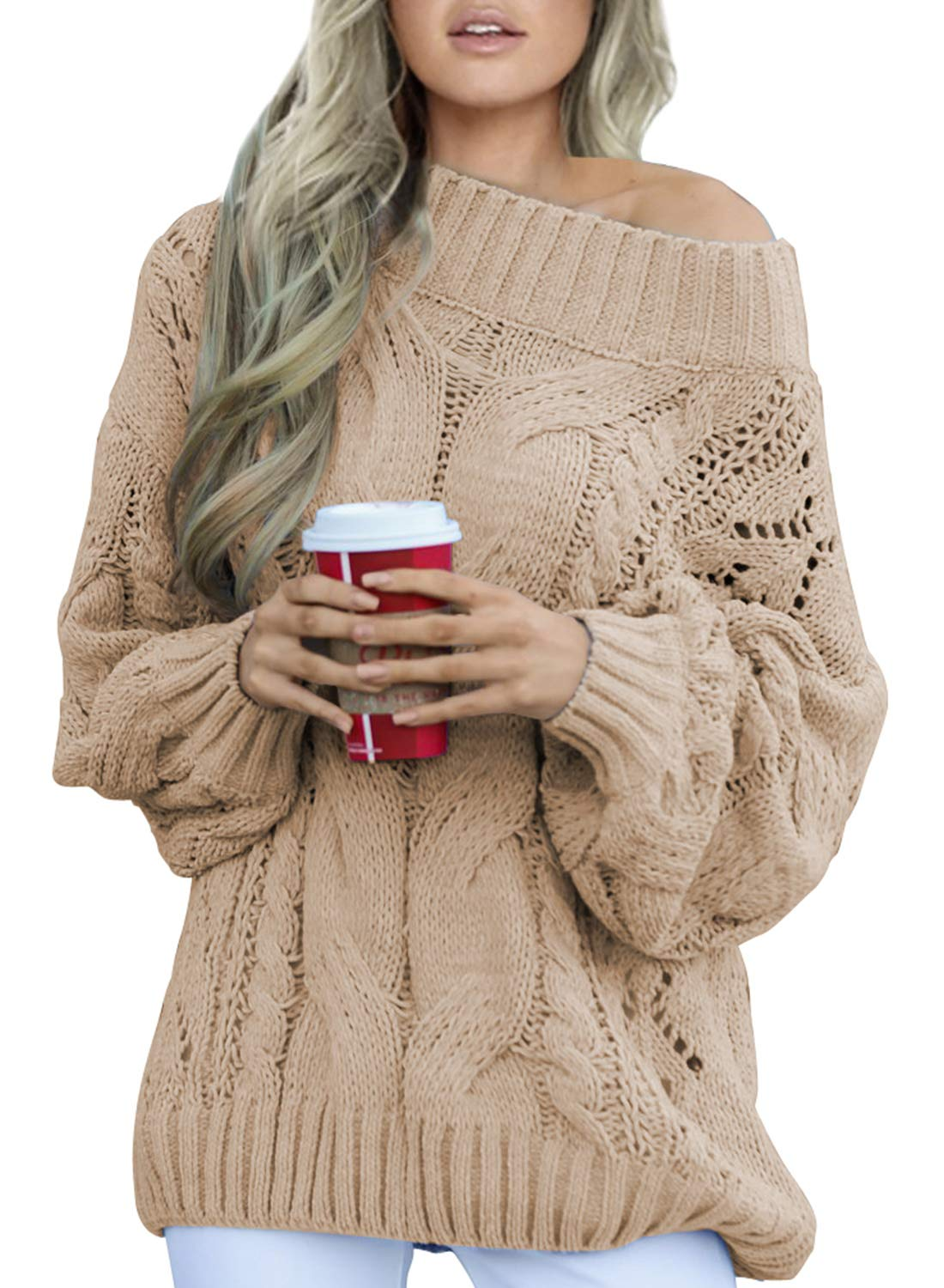 Acelitt Women's Casual Loose Crewneck One Shoulder Long Sleeve Winter Warm Oversized Chunky Knitted Sweater Jumper Pullover Tops Khaki Large by Acelitt