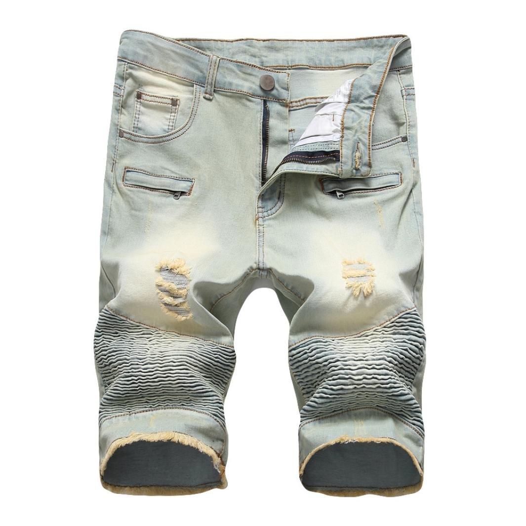 PASATO 2018 New Hot Men's Vintage Style Jeans Pants Zipper Crumple Fit Straight Denim (Yellow, 34)