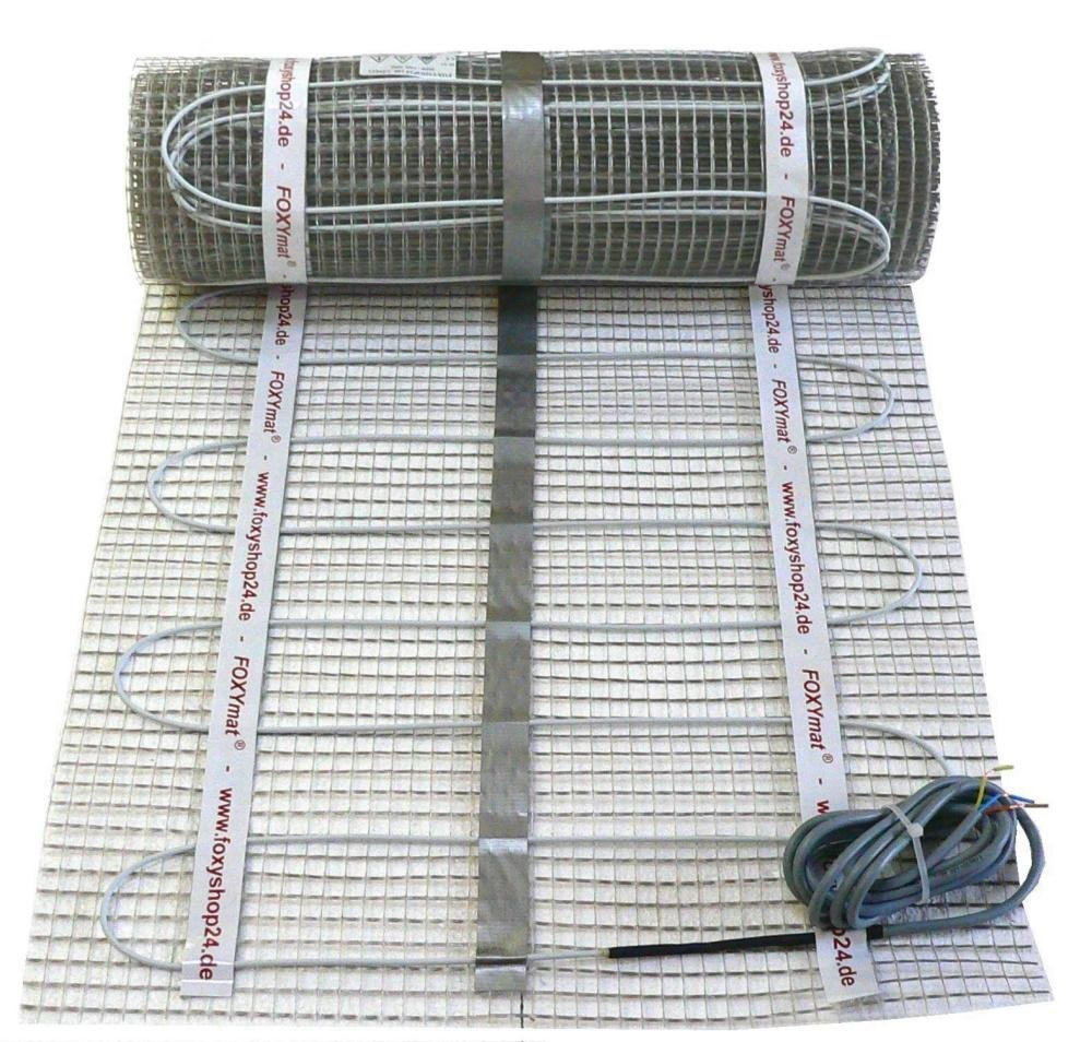 FOXYSHOP24-elektrische Fu/ßbodenheizung PREMIUM MARKE FOXYMAT.SL 160 Watt pro m/² mit Thermostat FOXYREG SPSW,Komplett-Set 10.0 m/² 0.5m x 20m