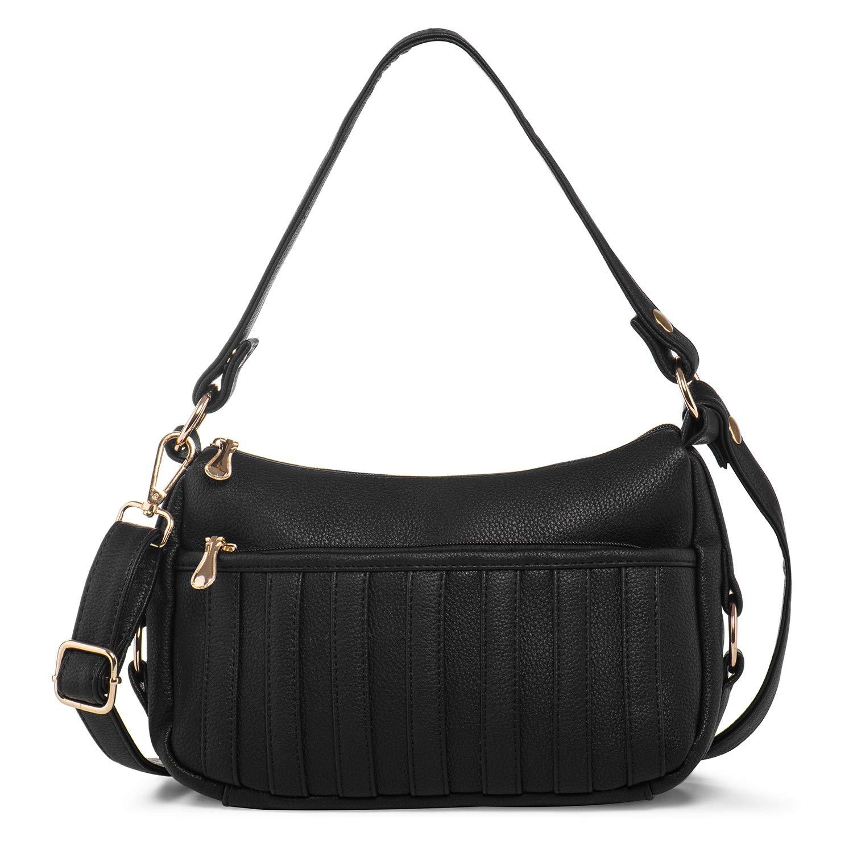 Ladies Shoulder Handbags PU Leather Crossbody Purses for Women Top Handle Bag Practical Black + Katloo Nail Clipper
