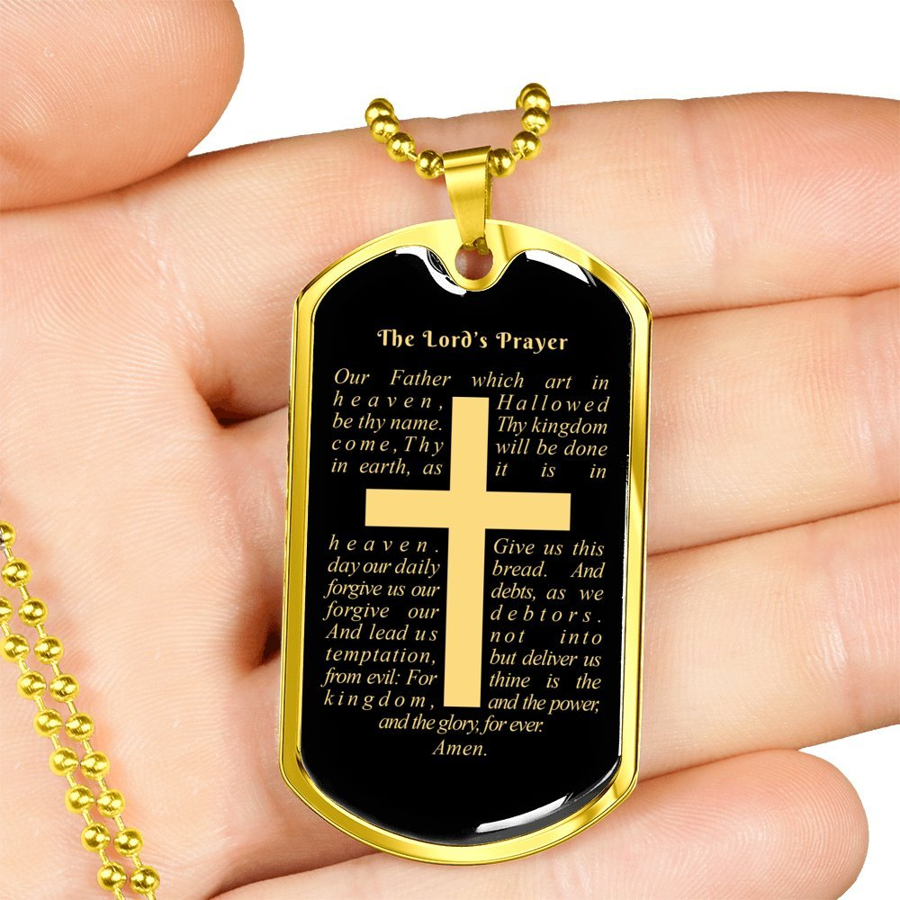 ExpressYourLoveGifts Matthew 6:9-13 Personalized Stainless Steel Silver Tone or 18k Gold Luxury Dog Tag Necklace w 24'' Ball Chain Free Engraving & Gift Box
