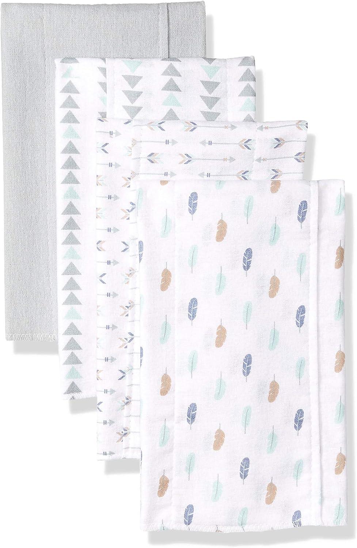 One Size Luvable Friends Unisex Baby Cotton Flannel Burp Cloths Boy Feathers