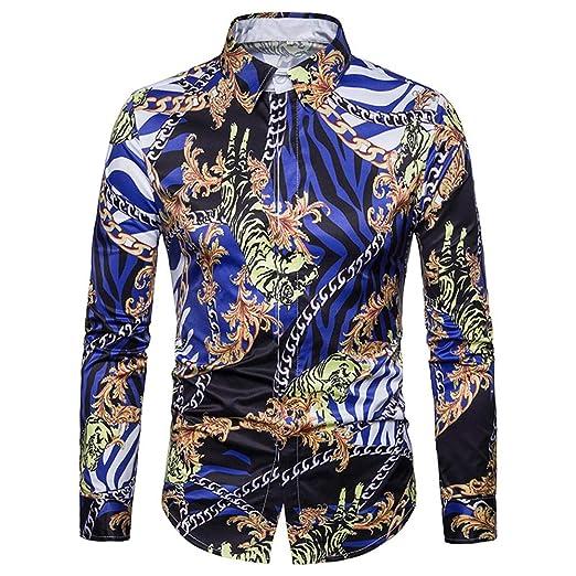 Cvbndfe Camisa de Vestir para Hombre Hombres Impresos ...