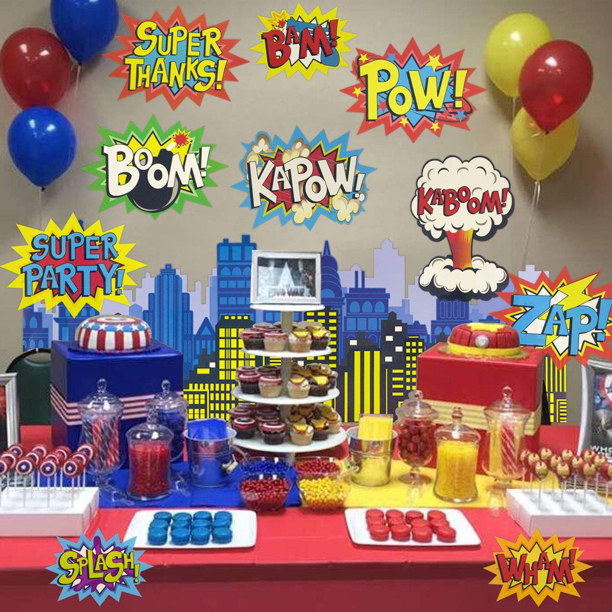 Large Superhero Action Signs Cutouts 12PCS Words and Cityscape Cut-Outs for Party Decoration by Fancy Land (Image #6)