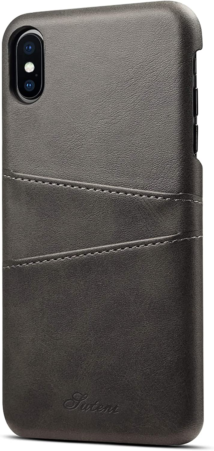 iPhone Xs Max Card Case, XRPow Synthetic Leather Wallet Case with Slim Professional Executive Snap On Cover with 2 Card Holder Slots for iPhone Xs Max 6.5inch Black