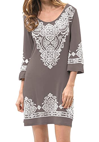 Levaca Womens Casual 3/4 Sleeve Scoop Neck Heart Print Dress