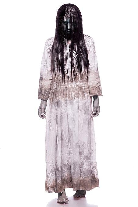 bieten Rabatte Vereinigte Staaten niedriger Preis Samara Horror Film Kostüm Damen Halloween Ring TV Set Grau Kleid Perücke  34-46