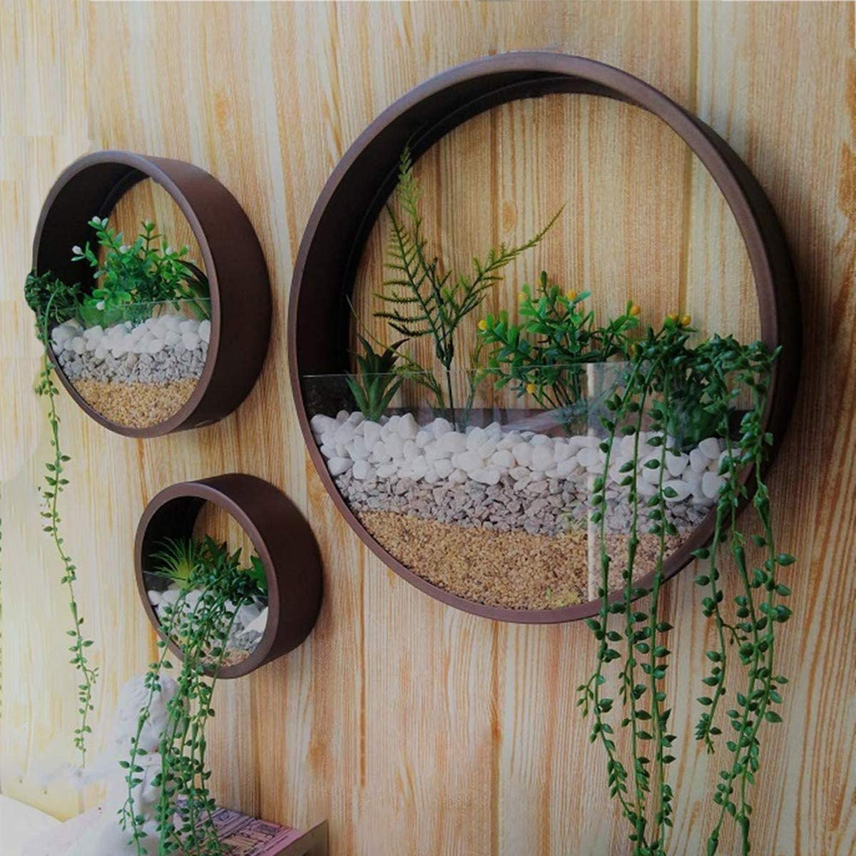 Garden LAGE METAL WALL PLANTER COMPLETE WITH ARTIFICIAL REALISTIC FLOWERS