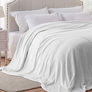 Hboemde Fleece Blanket King Size White Lightweight Soft Cozy Bed Blanket for Couch Microfiber Flannel Blanket