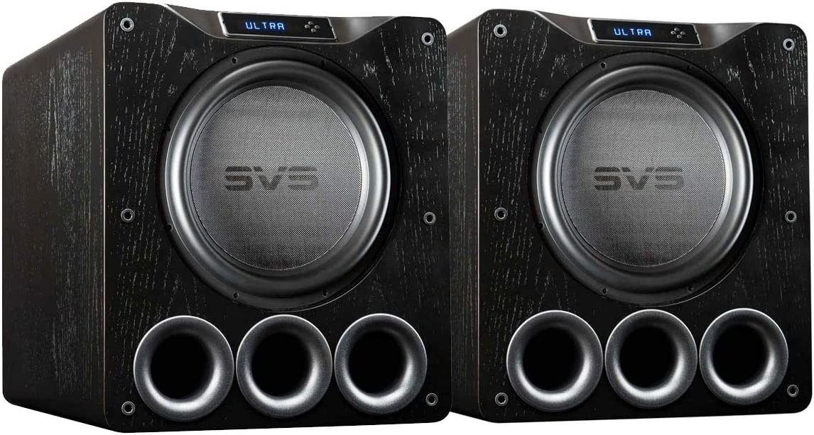 SVS Dual PB16-Ultra Subwoofer Black Oak 16-inch Driver, 1,500-Watts RMS, DSP App Control, Ported Cabinet