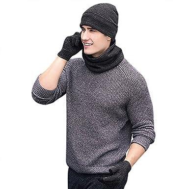 363d951556 Mütze Schal Handschuh Sets, Wintermütze Herren Damen Mütze Touchscreen  Handschuhe Beanie Warme Mütze Strickmütze Winterschal