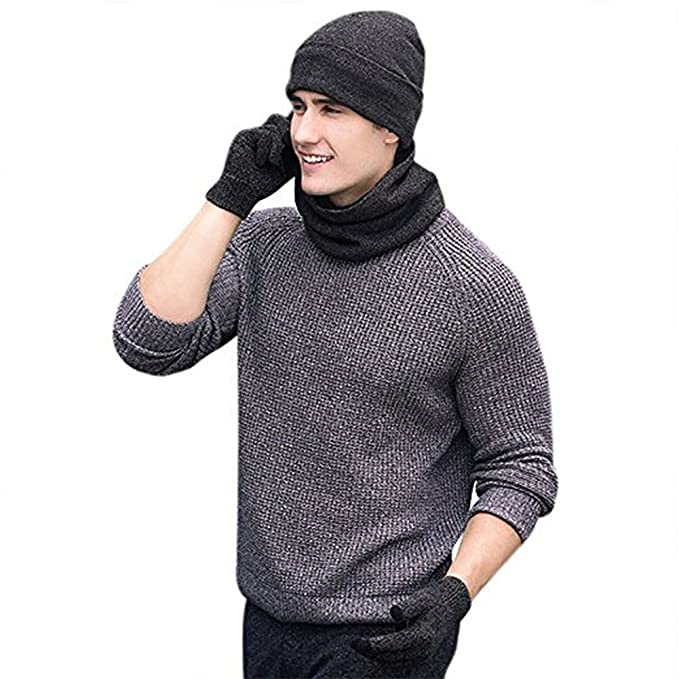 AUPUMI Gorras Con Bufanda y Gorros de punto Sombreros de Invierno Hombre  Set de Bufanda Conjunto 70380ec99a0